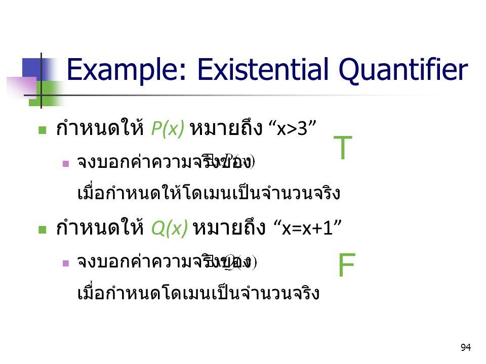 """94 Example: Existential Quantifier กำหนดให้ P(x) หมายถึง """"x>3"""" จงบอกค่าความจริงของ เมื่อกำหนดให้โดเมนเป็นจำนวนจริง กำหนดให้ Q(x) หมายถึง """"x=x+1"""" จงบอก"""