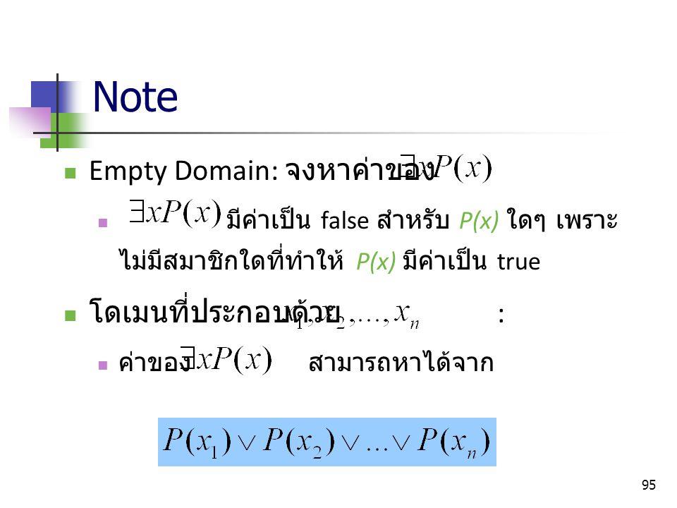 95 Note Empty Domain: จงหาค่าของ มีค่าเป็น false สำหรับ P(x) ใดๆ เพราะ ไม่มีสมาชิกใดที่ทำให้ P(x) มีค่าเป็น true โดเมนที่ประกอบด้วย : ค่าของ สามารถหาไ