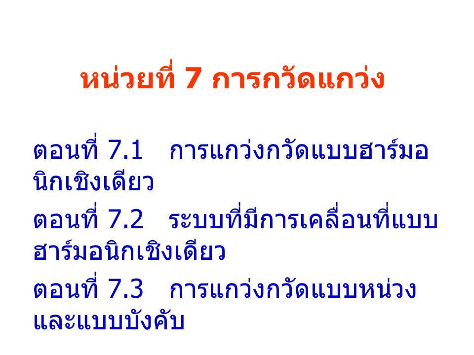 หน่วยที่ 7 การกวัดแกว่ง ตอนที่ 7.1 การแกว่งกวัดแบบฮาร์มอ นิกเชิงเดียว ตอนที่ 7.2 ระบบที่มีการเคลื่อนที่แบบ ฮาร์มอนิกเชิงเดียว ตอนที่ 7.3 การแกว่งกวัดแ