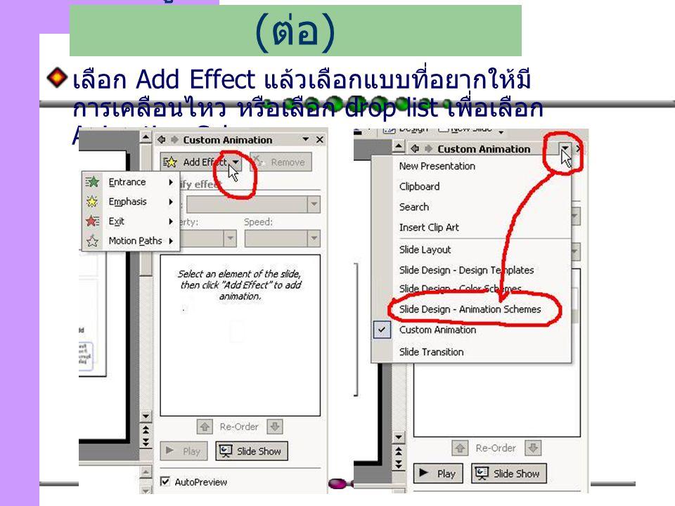 114 เลือก Add Effect แล้วเลือกแบบที่อยากให้มี การเคลือนไหว หรือเลือก drop list เพื่อเลือก Animation Schemes เพิ่มลูกเล่นในการนำเสนอ ( ต่อ )