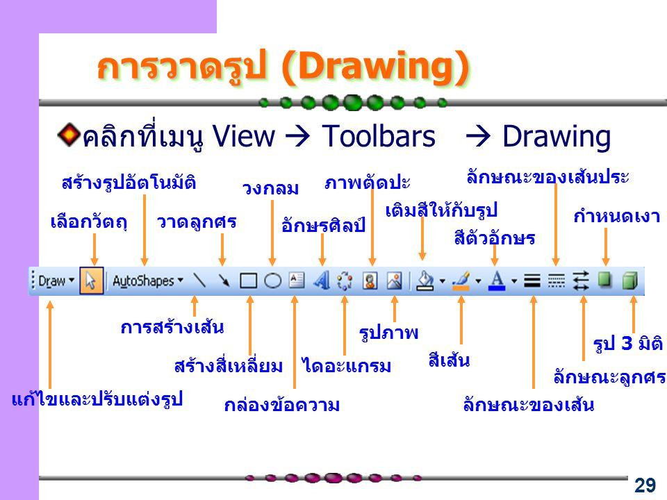 29 การวาดรูป (Drawing) คลิกที่เมนู View  Toolbars  Drawing การสร้างเส้น วาดลูกศร สร้างสี่เหลี่ยม วงกลม กล่องข้อความ อักษรศิลป์ ไดอะแกรม ภาพตัดปะ รูปภาพ เติมสีให้กับรูป สีเส้น สีตัวอักษร ลักษณะของเส้น ลักษณะของเส้นประ ลักษณะลูกศร กำหนดเงา รูป 3 มิติ สร้างรูปอัตโนมัติ เลือกวัตถุ แก้ไขและปรับแต่งรูป
