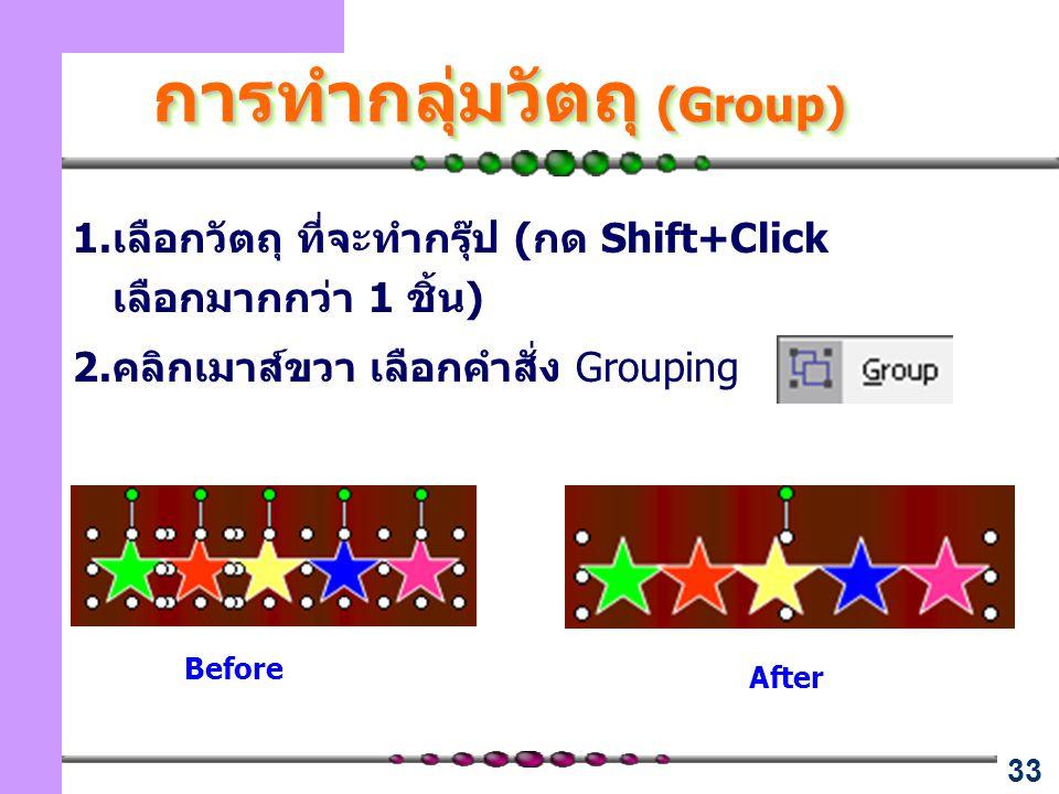 33 การทำกลุ่มวัตถุ (Group) 1.เลือกวัตถุ ที่จะทำกรุ๊ป (กด Shift+Click เลือกมากกว่า 1 ชิ้น) 2.คลิกเมาส์ขวา เลือกคำสั่ง Grouping Before After