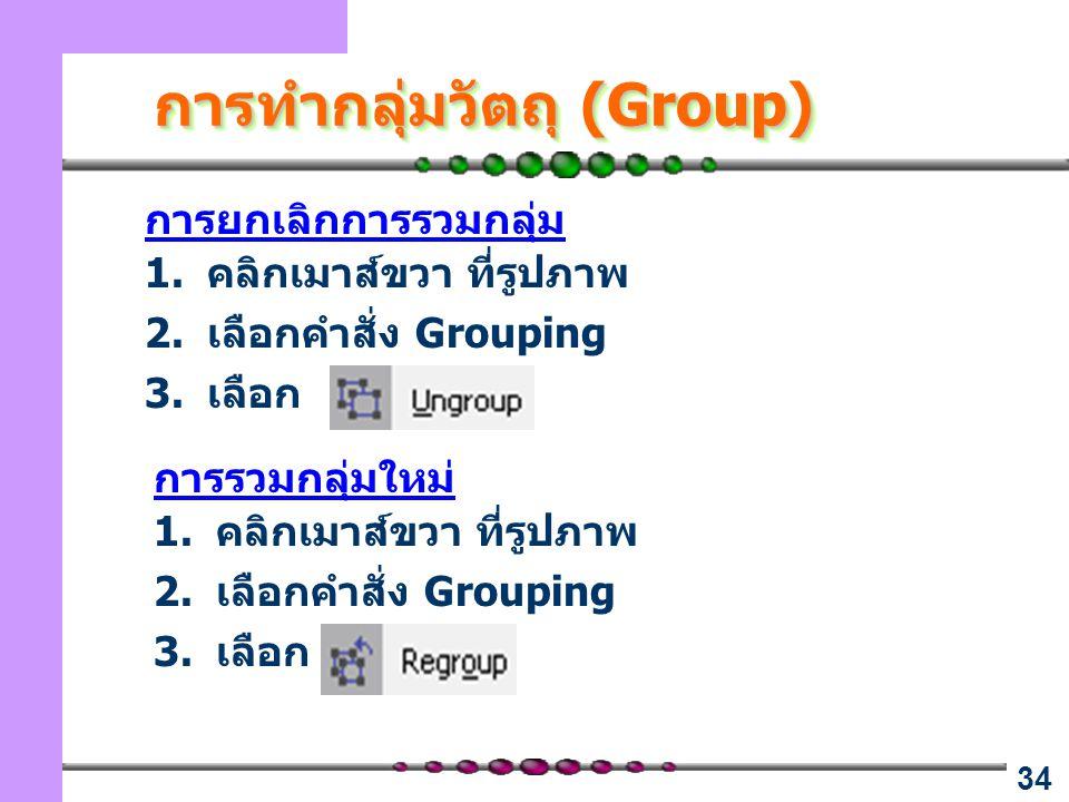 34 การยกเลิกการรวมกลุ่ม 1.คลิกเมาส์ขวา ที่รูปภาพ 2.เลือกคำสั่ง Grouping 3.เลือก การรวมกลุ่มใหม่ 1.คลิกเมาส์ขวา ที่รูปภาพ 2.เลือกคำสั่ง Grouping 3.เลือก การทำกลุ่มวัตถุ (Group)