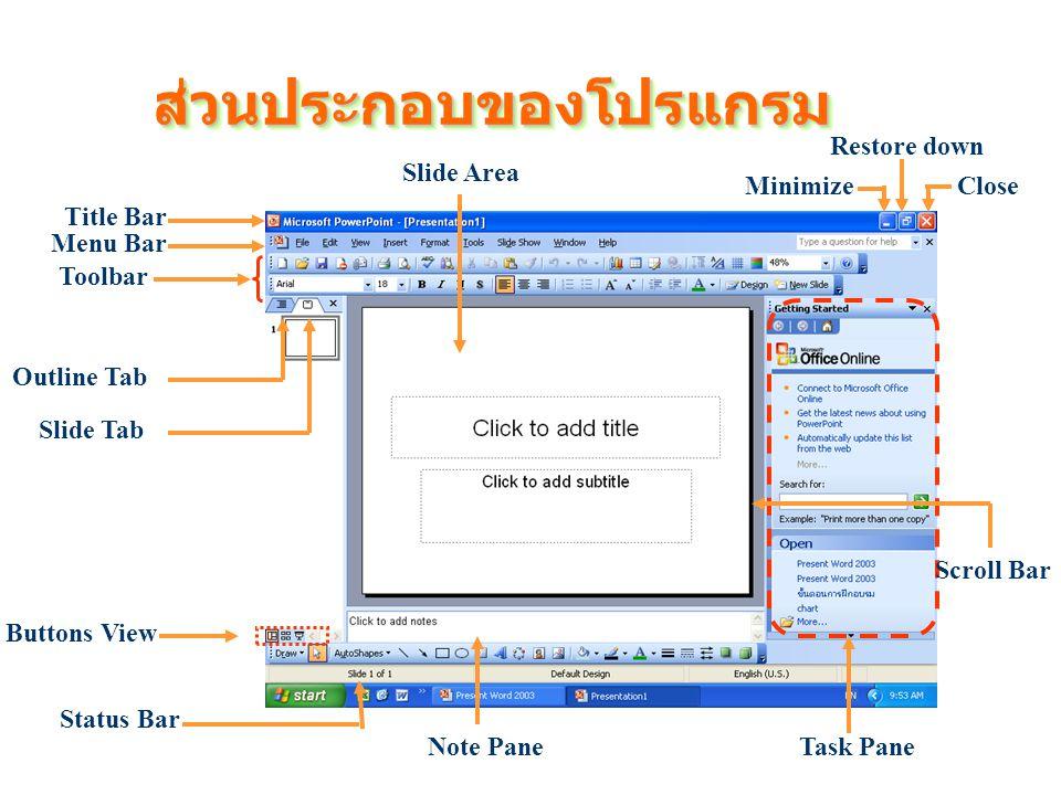 ส่วนประกอบของโปรแกรมส่วนประกอบของโปรแกรม Buttons View Status Bar Toolbar Menu Bar Title Bar Task Pane Minimize Restore down Close Scroll Bar Slide Area Slide Tab Outline Tab Note Pane