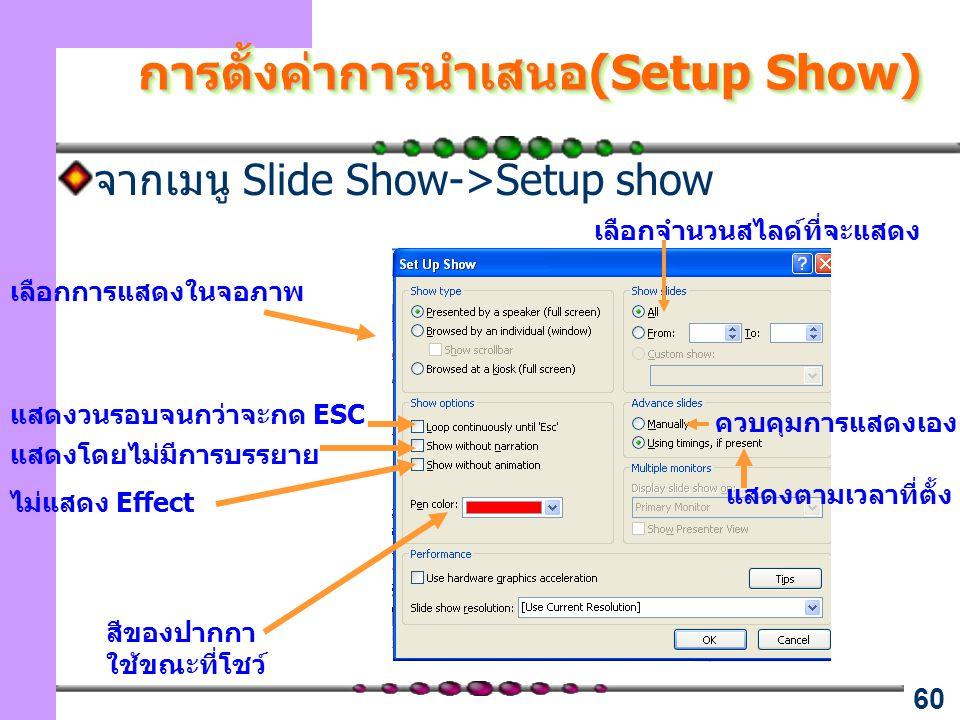 60 การตั้งค่าการนำเสนอ(Setup Show) จากเมนู Slide Show->Setup show สีของปากกา ใช้ขณะที่โชว์ แสดงวนรอบจนกว่าจะกด ESC เลือกการแสดงในจอภาพ ไม่แสดง Effect แสดงโดยไม่มีการบรรยาย เลือกจำนวนสไลด์ที่จะแสดง แสดงตามเวลาที่ตั้ง ควบคุมการแสดงเอง