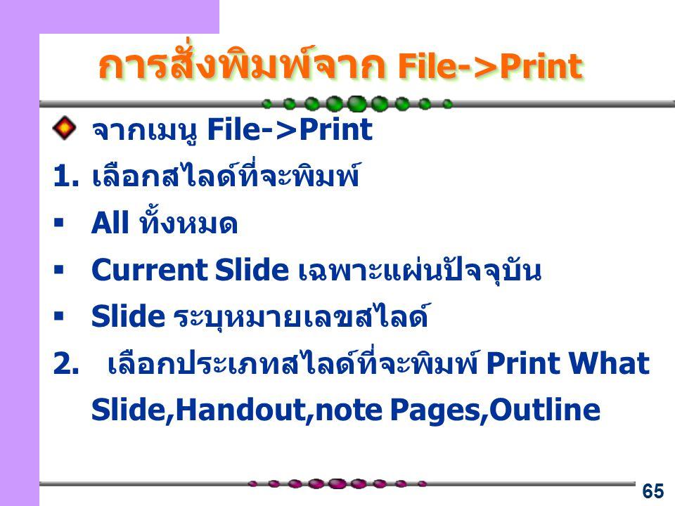65 การสั่งพิมพ์จาก File->Print จากเมนู File->Print 1.เลือกสไลด์ที่จะพิมพ์  All ทั้งหมด  Current Slide เฉพาะแผ่นปัจจุบัน  Slide ระบุหมายเลขสไลด์ 2.
