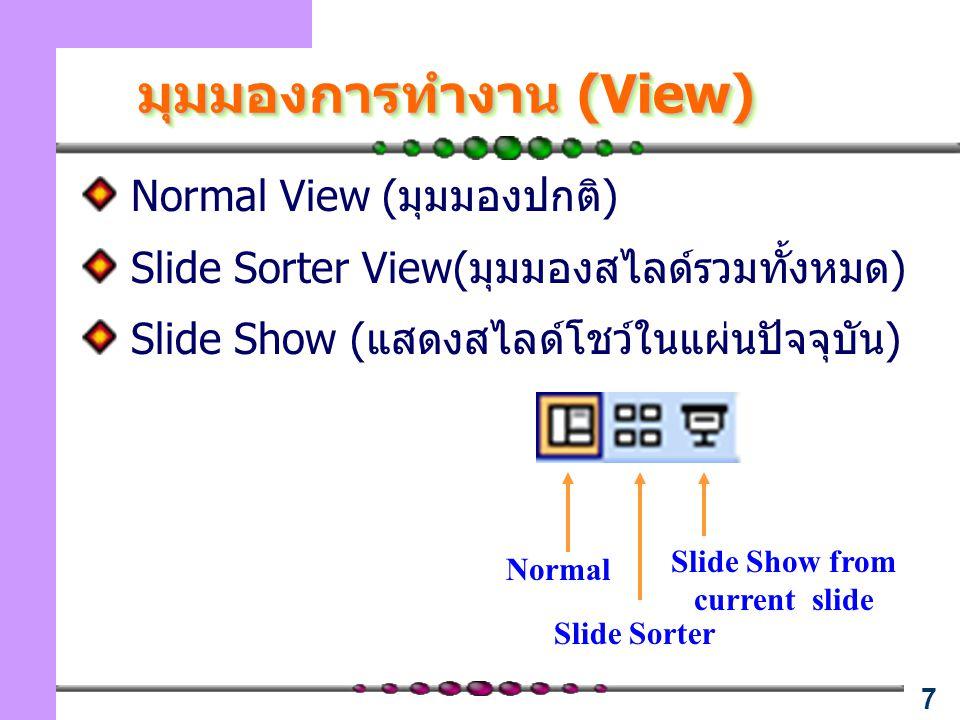 7 มุมมองการทำงาน (View) Normal View (มุมมองปกติ) Slide Sorter View(มุมมองสไลด์รวมทั้งหมด) Slide Show (แสดงสไลด์โชว์ในแผ่นปัจจุบัน) Normal Slide Sorter Slide Show from current slide
