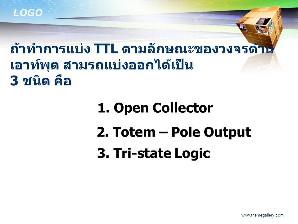 LOGO www.themegallery.com ถ้าทำการแบ่ง TTL ตามลักษณะของวงจรด้าน เอาท์พุต สามรถแบ่งออกได้เป็น 3 ชนิด คือ 1. Open Collector 2. Totem – Pole Output 3. Tr