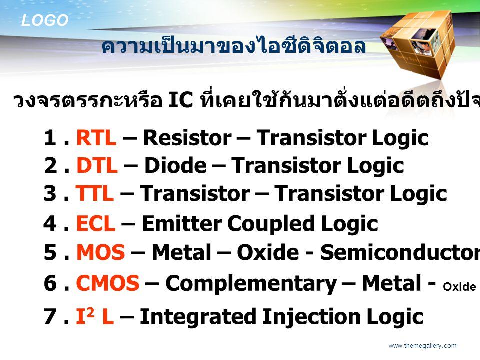 LOGO www.themegallery.com ความเป็นมาของไอซีดิจิตอล วงจรตรรกะหรือ IC ที่เคยใช้กันมาตั่งแต่อดีตถึงปัจจุบันมีหลายตระกูลด้วยกัน คือ 1. RTL – Resistor – Tr