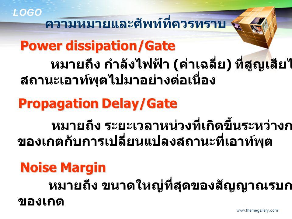 LOGO www.themegallery.com ความหมายและศัพท์ที่ควรทราบ Power dissipation/Gate หมายถึง กำลังไฟฟ้า ( ค่าเฉลี่ย ) ที่สูญเสียไปในเกตในสภาวะที่เปลี่ยน สถานะเ