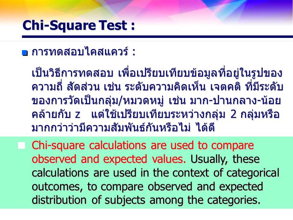 Chi-Square Test : การทดสอบไคสแควร์ : เป็นวิธีการทดสอบ เพื่อเปรียบเทียบข้อมูลที่อยู่ในรูปของ ความถี่ สัดส่วน เช่น ระดับความคิดเห็น เจตคติ ที่มีระดับ ขอ