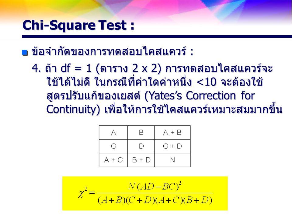 Chi-Square Test : ข้อจำกัดของการทดสอบไคสแควร์ : 4. ถ้า df = 1 (ตาราง 2 x 2) การทดสอบไคสแควร์จะ ใช้ได้ไม่ดี ในกรณีที่ค่าใดค่าหนึ่ง <10 จะต้องใช้ ใช้ได้