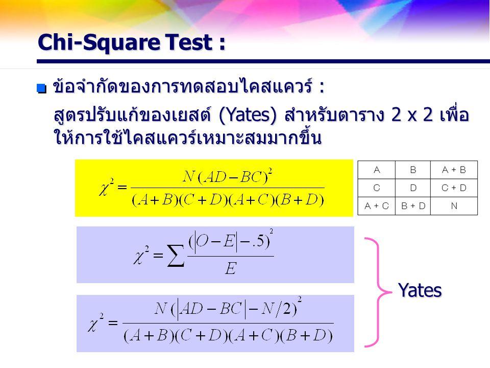 Chi-Square Test : ข้อจำกัดของการทดสอบไคสแควร์ : สูตรปรับแก้ของเยสต์ (Yates) สำหรับตาราง 2 x 2 เพื่อ ให้การใช้ไคสแควร์เหมาะสมมากขึ้น Yates