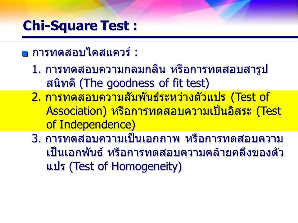 Chi-Square Test : การทดสอบไคสแควร์ : 1. การทดสอบความกลมกลืน หรือการทดสอบสารูป สนิทดี (The goodness of fit test) สนิทดี (The goodness of fit test) 2. ก