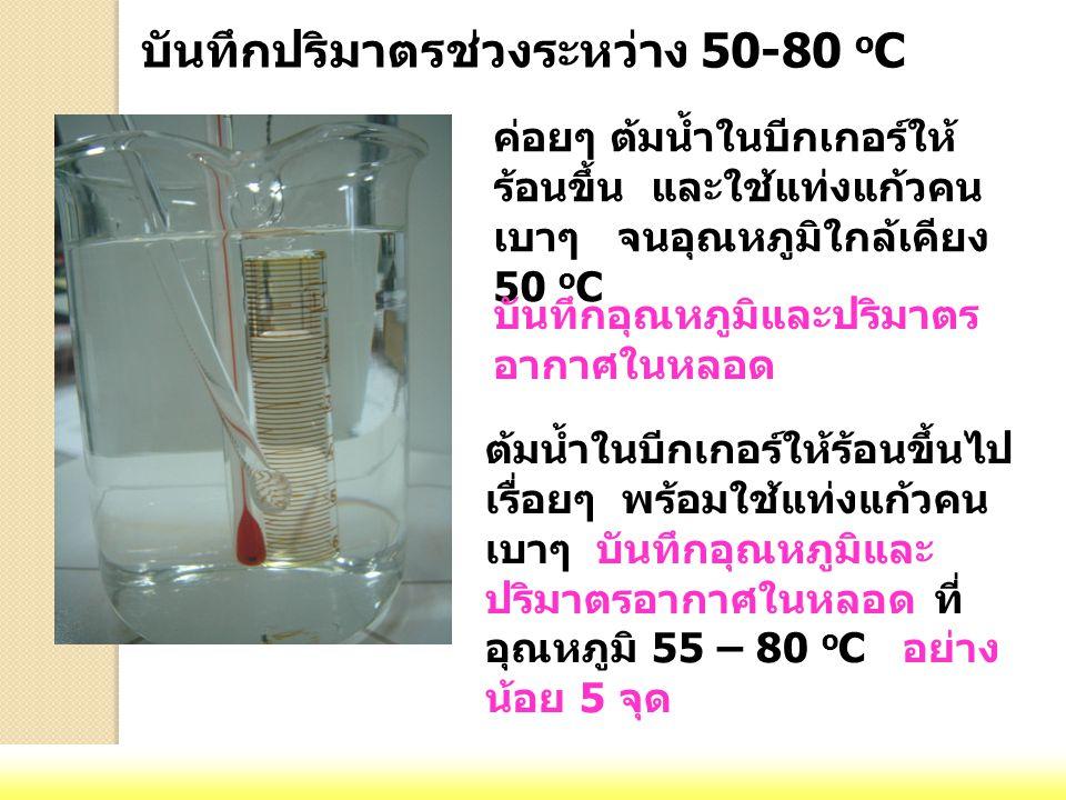 ค่อยๆ ต้มน้ำในบีกเกอร์ให้ ร้อนขึ้น และใช้แท่งแก้วคน เบาๆ จนอุณหภูมิใกล้เคียง 50 o C บันทึกอุณหภูมิและปริมาตร อากาศในหลอด ต้มน้ำในบีกเกอร์ให้ร้อนขึ้นไป เรื่อยๆ พร้อมใช้แท่งแก้วคน เบาๆ บันทึกอุณหภูมิและ ปริมาตรอากาศในหลอด ที่ อุณหภูมิ 55 – 80 o C อย่าง น้อย 5 จุด บันทึกปริมาตรช่วงระหว่าง 50-80 o C