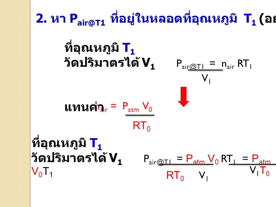 2. หา P air@T1 ที่อยู่ในหลอดที่อุณหภูมิ T 1 ( อยู่ในช่วง 50 – 80 o C) ที่อุณหภูมิ T 1 วัดปริมาตรได้ V 1 P air@T1 = n air RT 1 V1V1 n air = P atm V 0 R