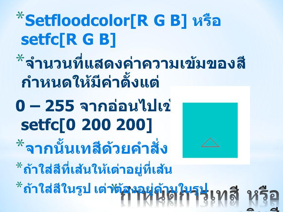 * Setfloodcolor[R G B] หรือ setfc[R G B] * จำนวนที่แสดงค่าความเข้มของสี กำหนดให้มีค่าตั้งแต่ 0 – 255 จากอ่อนไปเข้ม เช่น setfc[0 200 200] * จากนั้นเทสี