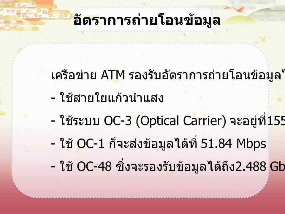 เครือข่าย ATM รองรับอัตราการถ่ายโอนข้อมูลได้หลายอัตรา - ใช้สายใยแก้วนำแสง - ใช้ระบบ OC-3 (Optical Carrier) จะอยู่ที่ 155.52 Mbps - ใช้ OC-1 ก็จะส่งข้อ