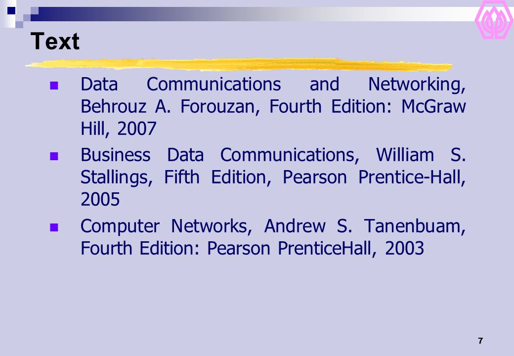 7 Text Data Communications and Networking, Behrouz A.