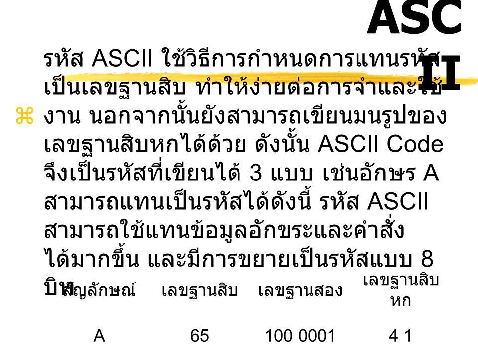 ASC II  American Standard Code For Information Interchange (ASCII) อ่านว่า แอส - กี้ เป็น รหัสที่พัฒนาขึ้นโดยสถาบันมาตรฐานแห่งชาติ สหรัฐอเมริกา (Amer