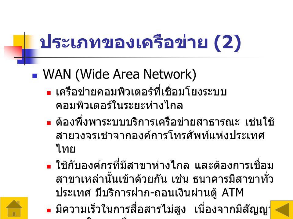 ประเภทของเครือข่าย (2) WAN (Wide Area Network) เครือข่ายคอมพิวเตอร์ที่เชื่อมโยงระบบ คอมพิวเตอร์ในระยะห่างไกล ต้องพึ่งพาระบบบริการเครือข่ายสาธารณะ เช่นใช้ สายวงจรเช่าจากองค์การโทรศัพท์แห่งประเทศ ไทย ใช้กับองค์กรที่มีสาขาห่างไกล และต้องการเชื่อม สาขาเหล่านั้นเข้าด้วยกัน เช่น ธนาคารมีสาขาทั่ว ประเทศ มีบริการฝาก - ถอนเงินผ่านตู้ ATM มีความเร็วในการสื่อสารไม่สูง เนื่องจากมีสัญญาณ รบกวนในขณะสื่อสาร เทคโนโลยีที่ใช้กับ WAN ได้แก่ สัญญาณ ดาวเทียม เส้นใยนำแสง เป็นต้น