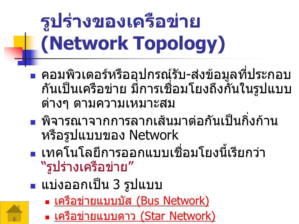 รูปร่างของเครือข่าย (Network Topology) คอมพิวเตอร์หรืออุปกรณ์รับ - ส่งข้อมูลที่ประกอบ กันเป็นเครือข่าย มีการเชื่อมโยงถึงกันในรูปแบบ ต่างๆ ตามความเหมาะสม พิจารณาจากการลากเส้นมาต่อกันเป็นกิ่งก้าน หรือรูปแบบของ Network เทคโนโลยีการออกแบบเชื่อมโยงนี้เรียกว่า รูปร่างเครือข่าย แบ่งออกเป็น 3 รูปแบบ เครือข่ายแบบบัส (Bus Network) เครือข่ายแบบบัส (Bus Network) เครือข่ายแบบดาว (Star Network) เครือข่ายแบบดาว (Star Network) เครือข่ายแบบวงแหวน (Ring Network) เครือข่ายแบบวงแหวน (Ring Network)