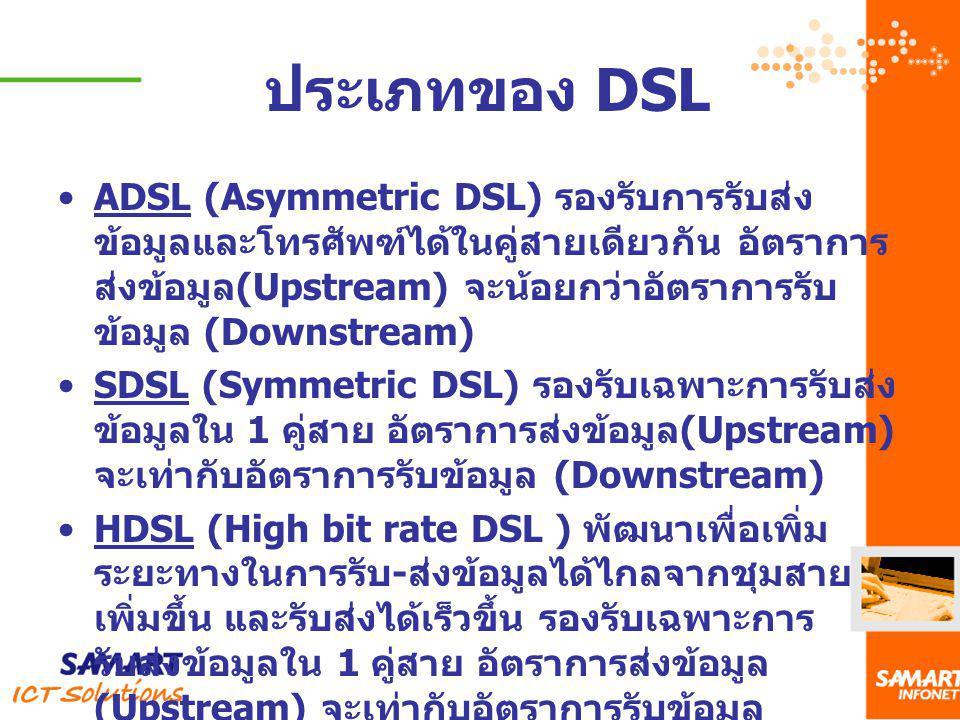 ประเภทของ DSL ADSL (Asymmetric DSL) รองรับการรับส่ง ข้อมูลและโทรศัพฑ์ได้ในคู่สายเดียวกัน อัตราการ ส่งข้อมูล (Upstream) จะน้อยกว่าอัตราการรับ ข้อมูล (D