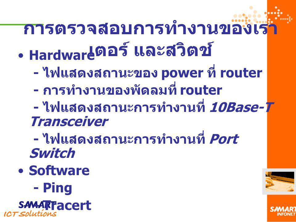 Hardware - ไฟแสดงสถานะของ power ที่ router - การทำงานของพัดลมที่ router - ไฟแสดงสถานะการทำงานที่ 10Base-T Transceiver - ไฟแสดงสถานะการทำงานที่ Port Sw