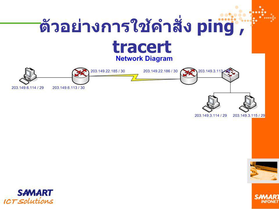 ตัวอย่างการใช้คำสั่ง ping, tracert