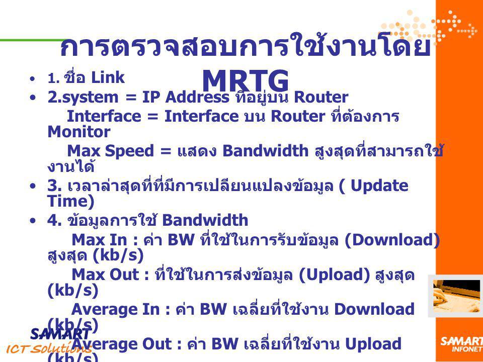 1. ชึ่อ Link 2.system = IP Address ที่อยู่บน Router Interface = Interface บน Router ที่ต้องการ Monitor Max Speed = แสดง Bandwidth สูงสุดที่สามารถใช้ ง