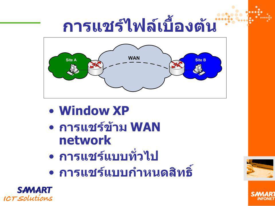 การแชร์ไฟล์เบื้องต้น Window XP การแชร์ข้าม WAN network การแชร์แบบทั่วไป การแชร์แบบกำหนดสิทธิ์