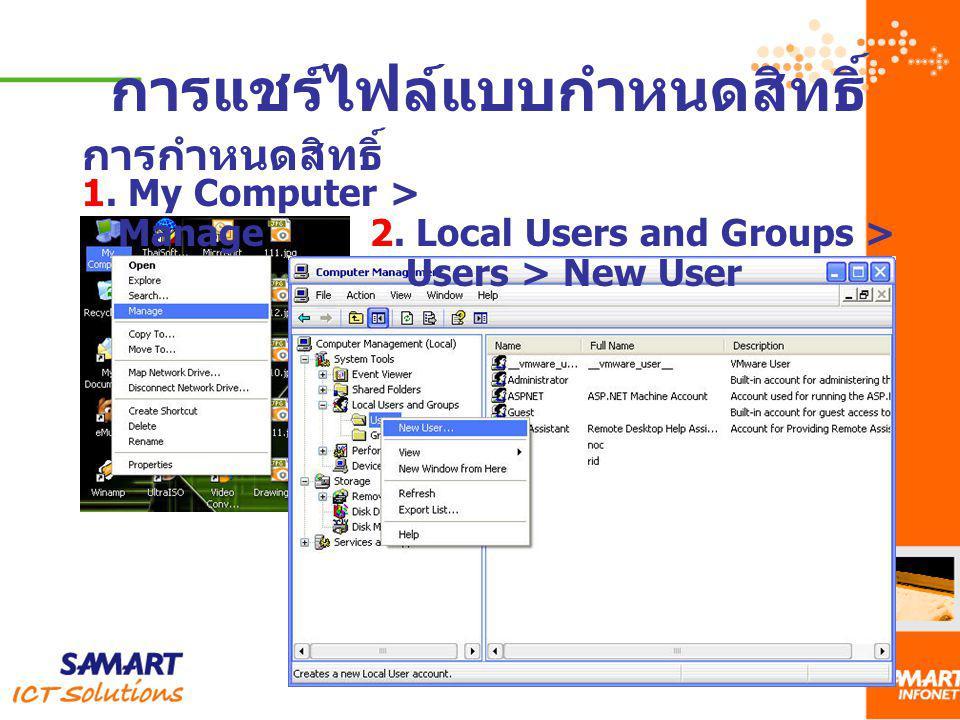การแชร์ไฟล์แบบกำหนดสิทธิ์ การกำหนดสิทธิ์ 1. My Computer > Manage 2. Local Users and Groups > Users > New User