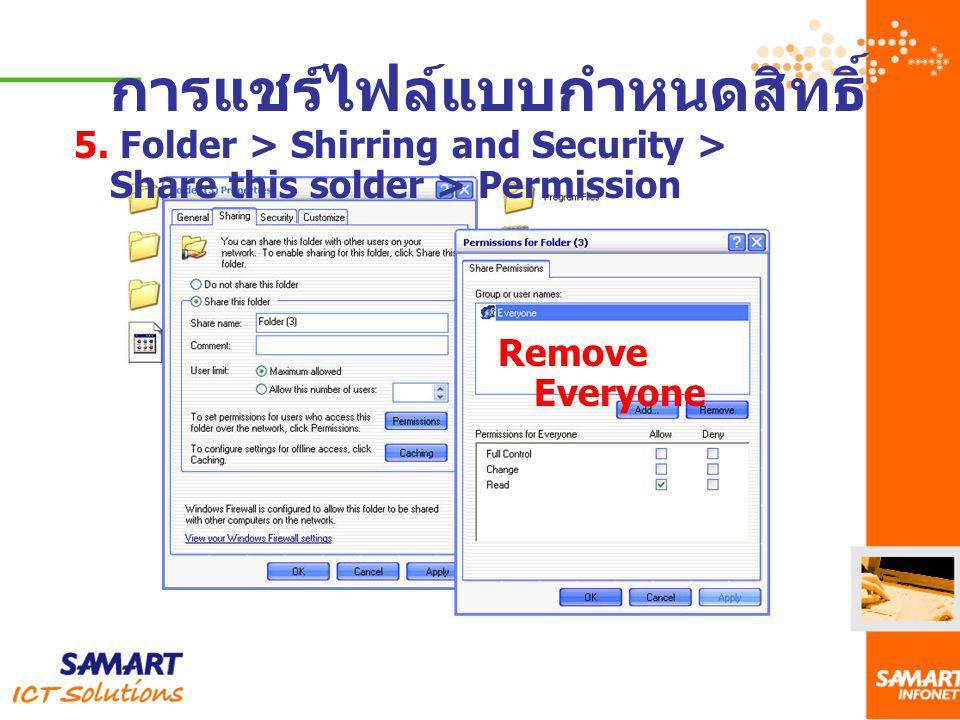 การแชร์ไฟล์แบบกำหนดสิทธิ์ 5. Folder > Shirring and Security > Share this solder > Permission Remove Everyone