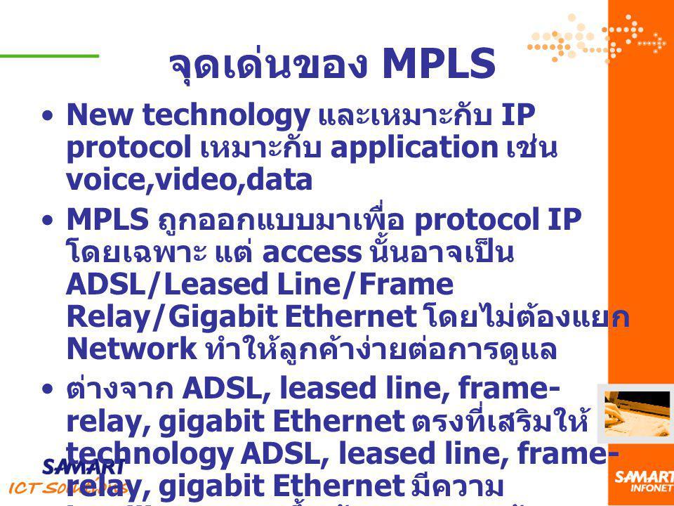 จุดเด่นของ MPLS New technology และเหมาะกับ IP protocol เหมาะกับ application เช่น voice,video,data MPLS ถูกออกแบบมาเพื่อ protocol IP โดยเฉพาะ แต่ acces