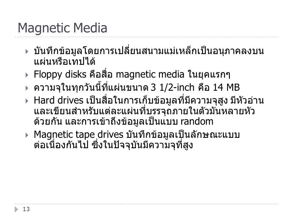 Magnetic Media 13  บันทึกข้อมูลโดยการเปลี่ยนสนามแม่เหล็กเป็นอนุภาคลงบน แผ่นหรือเทปได้  Floppy disks คือสื่อ magnetic media ในยุคแรกๆ  ความจุในทุกวั
