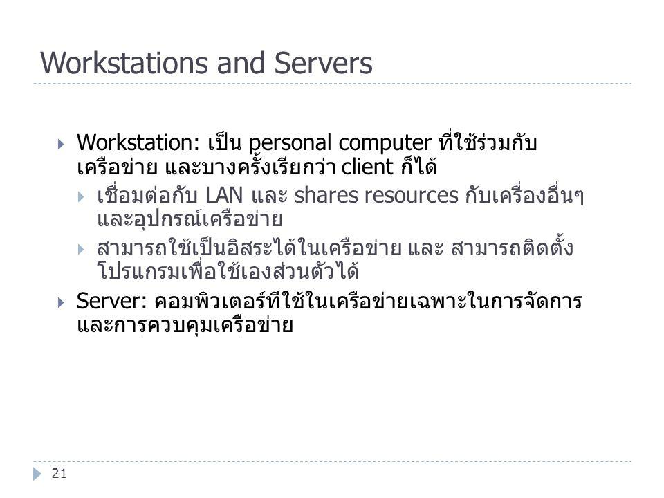 Workstations and Servers 21  Workstation: เป็น personal computer ที่ใช้ร่วมกับ เครือข่าย และบางครั้งเรียกว่า client ก็ได้  เชื่อมต่อกับ LAN และ shar