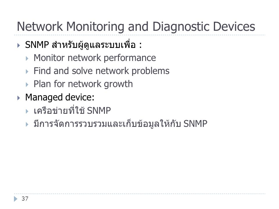 Network Monitoring and Diagnostic Devices 37  SNMP สำหรับผู้ดูแลระบบเพื่อ :  Monitor network performance  Find and solve network problems  Plan fo