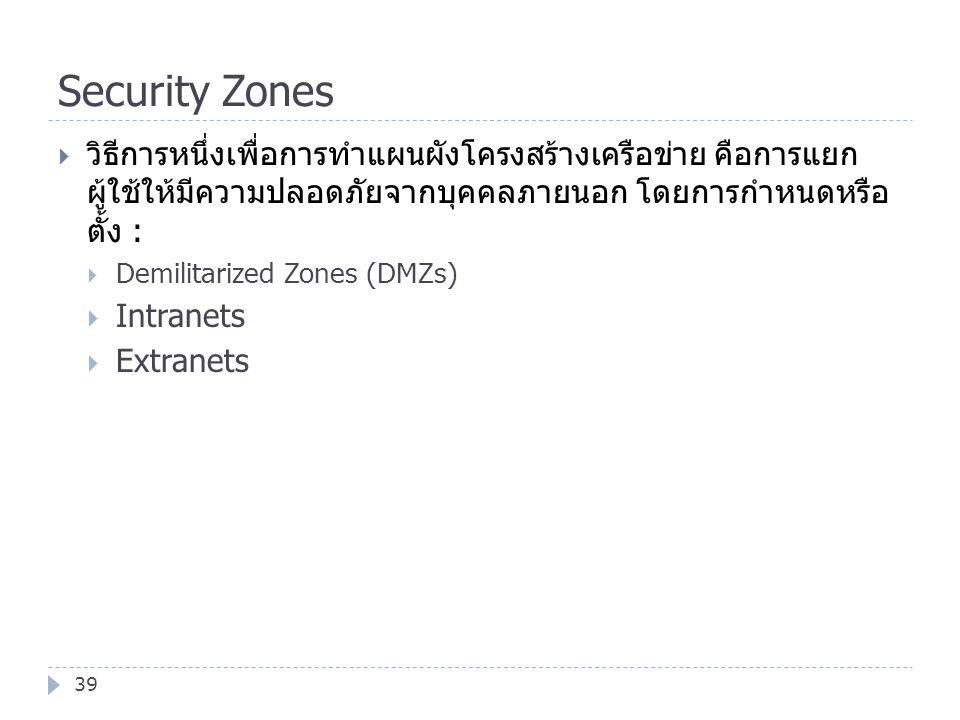 Security Zones 39  วิธีการหนึ่งเพื่อการทำแผนผังโครงสร้างเครือข่าย คือการแยก ผู้ใช้ให้มีความปลอดภัยจากบุคคลภายนอก โดยการกำหนดหรือ ตั้ง :  Demilitariz