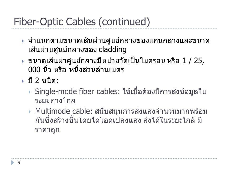 Fiber-Optic Cables (continued) 9  จำแนกตามขนาดเส้นผ่านศูนย์กลางของแกนกลางและขนาด เส้นผ่านศูนย์กลางของ cladding  ขนาดเส้นผ่าศูนย์กลางมีหน่วยวัดเป็นไม
