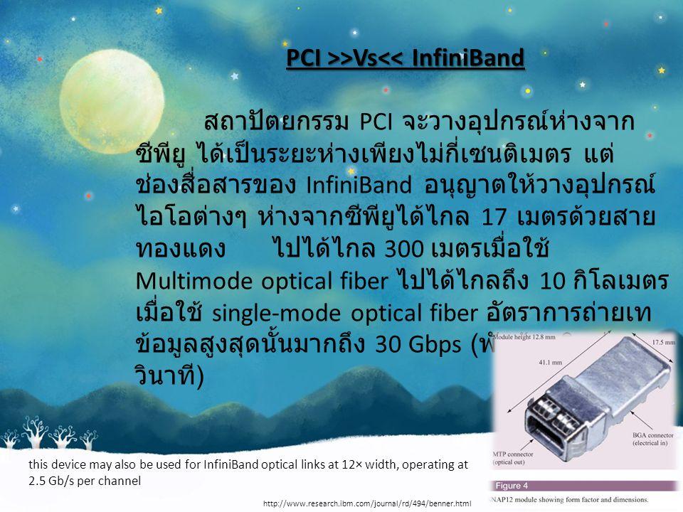 PCI >>Vs >Vs<< InfiniBand สถาปัตยกรรม PCI จะวางอุปกรณ์ห่างจาก ซีพียู ได้เป็นระยะห่างเพียงไม่กี่เซนติเมตร แต่ ช่องสื่อสารของ InfiniBand อนุญาตให้วางอุปกรณ์ ไอโอต่างๆ ห่างจากซีพียูได้ไกล 17 เมตรด้วยสาย ทองแดงไปได้ไกล 300 เมตรเมื่อใช้ Multimode optical fiber ไปได้ไกลถึง 10 กิโลเมตร เมื่อใช้ single-mode optical fiber อัตราการถ่ายเท ข้อมูลสูงสุดนั้นมากถึง 30 Gbps ( พันล้านบิตต่อ วินาที ) http://www.research.ibm.com/journal/rd/494/benner.html this device may also be used for InfiniBand optical links at 12× width, operating at 2.5 Gb/s per channel