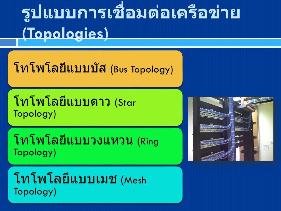 รูปแบบการเชื่อมต่อเครือข่าย (Topologies) โทโพโลยีแบบบัส (Bus Topology) โทโพโลยีแบบดาว (Star Topology) โทโพโลยีแบบวงแหวน (Ring Topology) โทโพโลยีแบบเมช