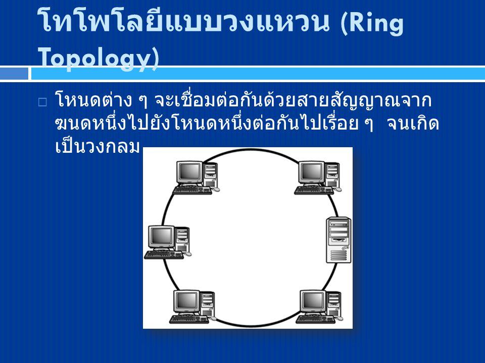 โทโพโลยีแบบวงแหวน (Ring Topology)  โหนดต่าง ๆ จะเชื่อมต่อกันด้วยสายสัญญาณจาก ฆนดหนึ่งไปยังโหนดหนึ่งต่อกันไปเรื่อย ๆ จนเกิด เป็นวงกลม