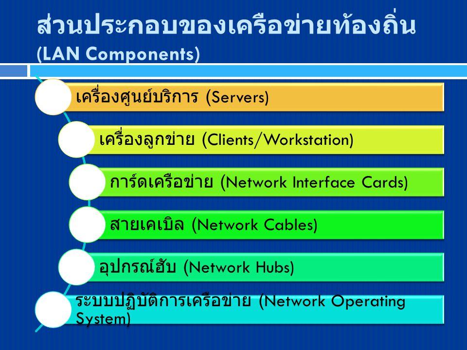 เครื่องศูนย์บริการ (Servers) เครื่องลูกข่าย (Clients/Workstation) การ์ดเครือข่าย (Network Interface Cards) สายเคเบิล (Network Cables) อุปกรณ์ฮับ (Netw