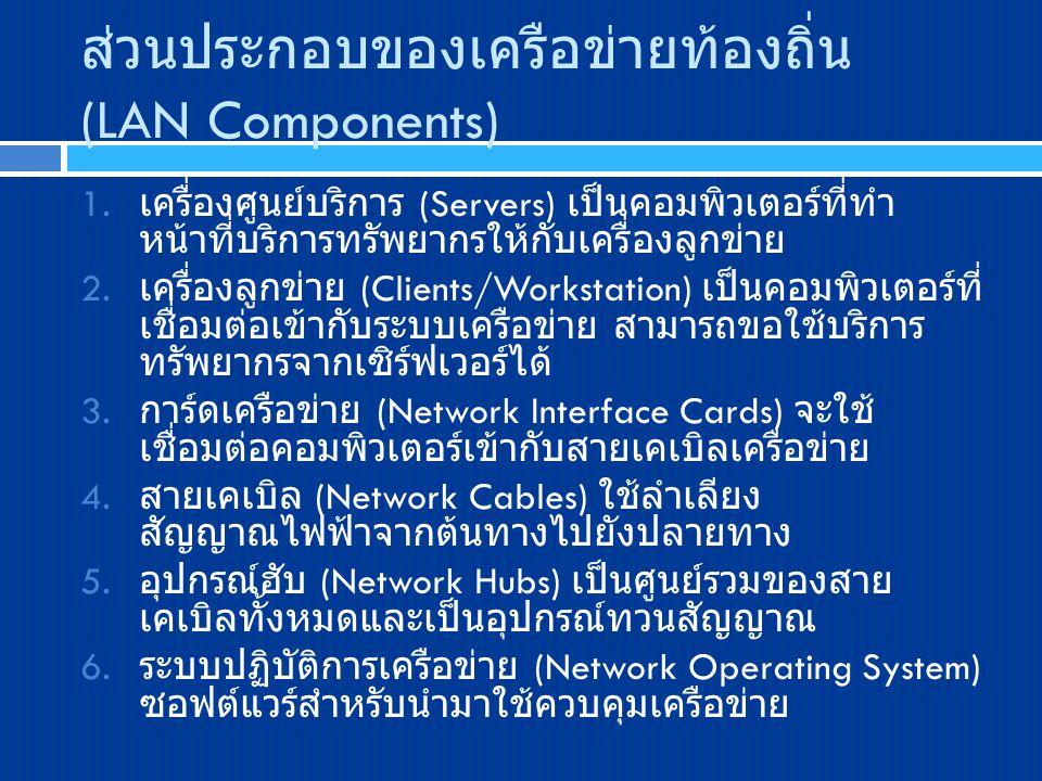 ส่วนประกอบของเครือข่ายท้องถิ่น (LAN Components) 1. เครื่องศูนย์บริการ (Servers) เป็นคอมพิวเตอร์ที่ทำ หน้าที่บริการทรัพยากรให้กับเครื่องลูกข่าย 2. เครื