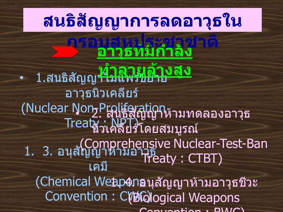 1. สนธิสัญญาไม่แพร่ขยาย อาวุธนิวเคลียร์ (Nuclear Non-Proliferation Treaty : NPT) อาวุธที่มีกำลัง ทำลายล้างสูง สนธิสัญญาการลดอาวุธใน กรอบสหประชาชาติ 1.