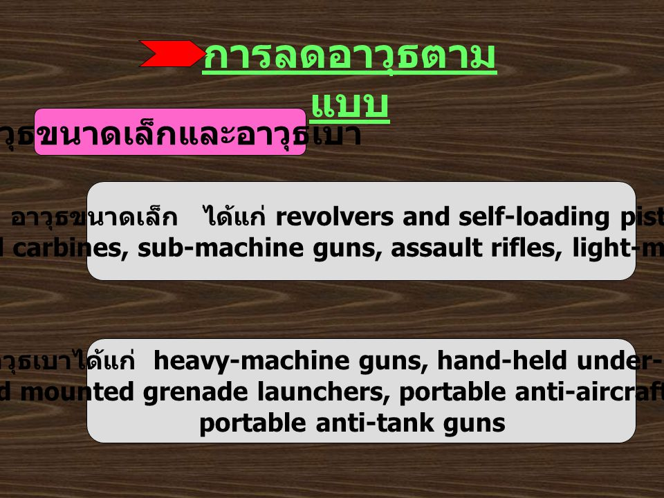 การลดอาวุธตาม แบบ อาวุธขนาดเล็กและอาวุธเบา อาวุธขนาดเล็ก ได้แก่ revolvers and self-loading pistols, rifles and carbines, sub-machine guns, assault rifles, light-machine guns อาวุธเบาได้แก่ heavy-machine guns, hand-held under-barrel and mounted grenade launchers, portable anti-aircraft guns, portable anti-tank guns