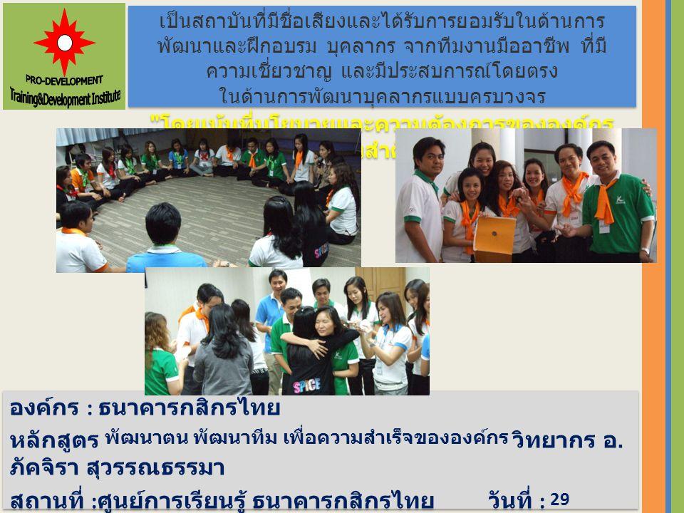 องค์กร : ธนาคารกสิกรไทย หลักสูตร พัฒนาตน พัฒนาทีม เพื่อความสำเร็จขององค์กร วิทยากร อ.