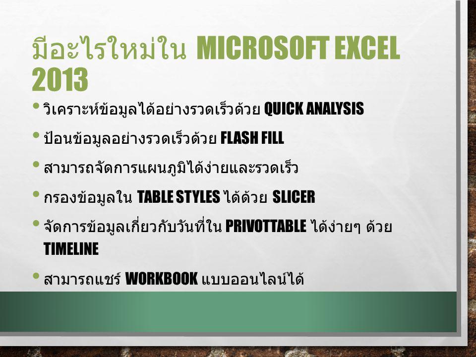 ส่วนประกอบของ EXCEL 2013 เซลล์ที่กำลังใช้งาน (Active Cell) กล่องชื่อ (Name Box) ปุ่มสกรอล์ (Scroll) ย่อ - ชยาย (Zoom Slider) ปุ่มวิว (View) แผ่นงานใหม่ (New Sheet) แท็บแผ่นงาน (Sheet Tab) แถบสถานะ (Status Bar) เวิร์กชีท (Worksheet) แทรกฟังก์ชัน (Insert Function) แถบสูตร (Formula Bar)