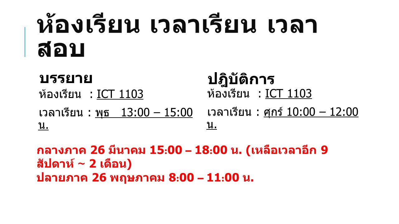 ห้องเรียน เวลาเรียน เวลา สอบ ห้องเรียน : ICT 1103 เวลาเรียน : พุธ 13:00 – 15:00 น.