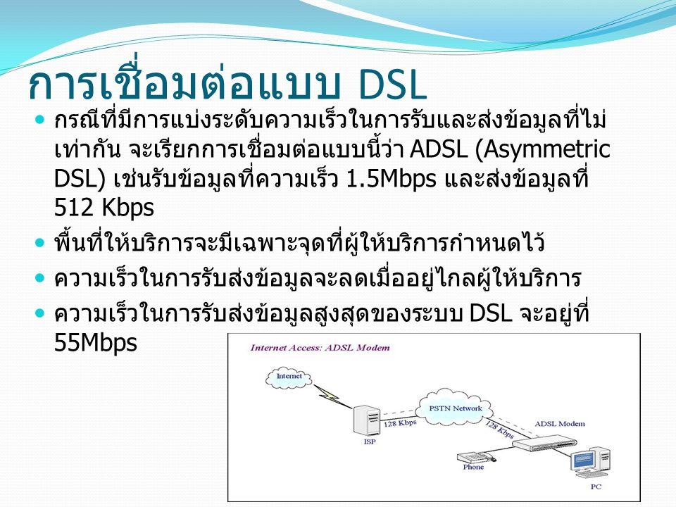 กรณีที่มีการแบ่งระดับความเร็วในการรับและส่งข้อมูลที่ไม่ เท่ากัน จะเรียกการเชื่อมต่อแบบนี้ว่า ADSL (Asymmetric DSL) เช่นรับข้อมูลที่ความเร็ว 1.5Mbps และส่งข้อมูลที่ 512 Kbps พื้นที่ให้บริการจะมีเฉพาะจุดที่ผู้ให้บริการกำหนดไว้ ความเร็วในการรับส่งข้อมูลจะลดเมื่ออยู่ไกลผู้ให้บริการ ความเร็วในการรับส่งข้อมูลสูงสุดของระบบ DSL จะอยู่ที่ 55Mbps